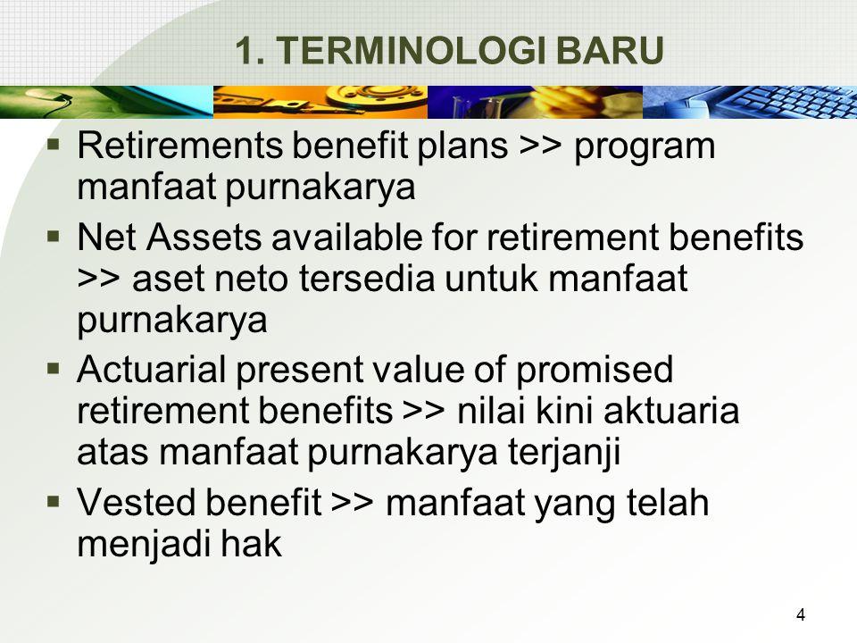 1. TERMINOLOGI BARU  Retirements benefit plans >> program manfaat purnakarya  Net Assets available for retirement benefits >> aset neto tersedia unt