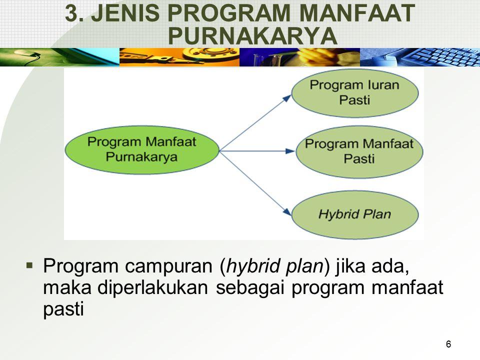 3. JENIS PROGRAM MANFAAT PURNAKARYA  Program campuran (hybrid plan) jika ada, maka diperlakukan sebagai program manfaat pasti 6