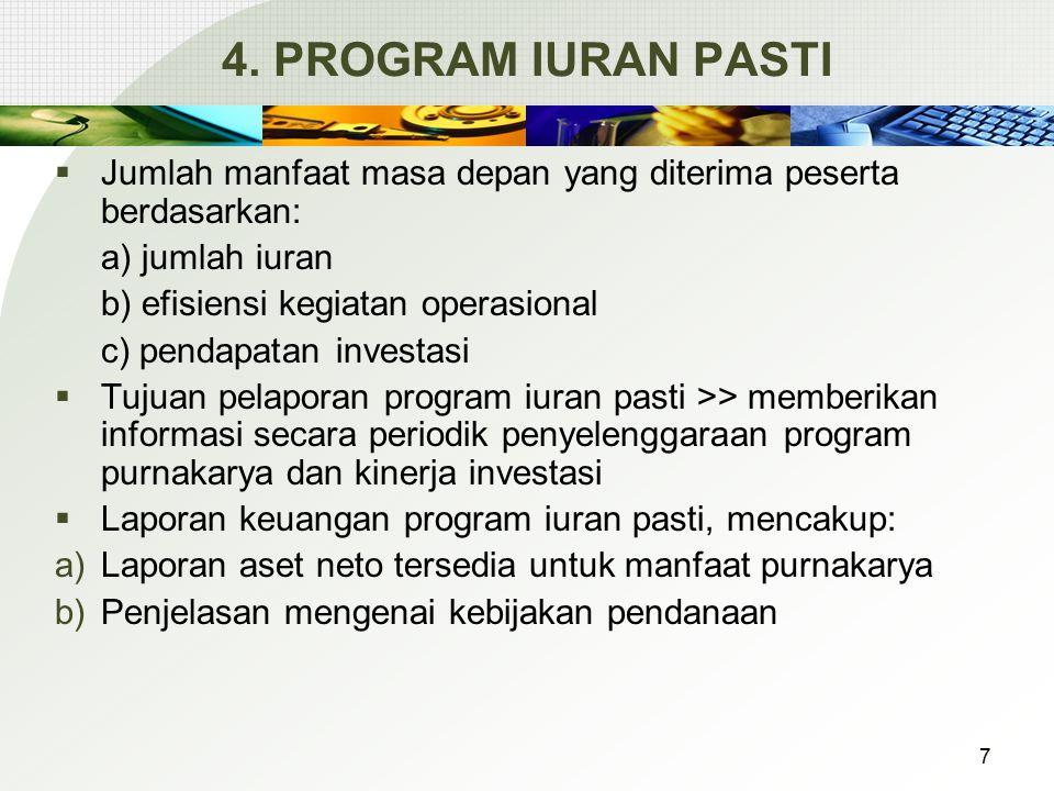4. PROGRAM IURAN PASTI  Jumlah manfaat masa depan yang diterima peserta berdasarkan: a) jumlah iuran b) efisiensi kegiatan operasional c) pendapatan