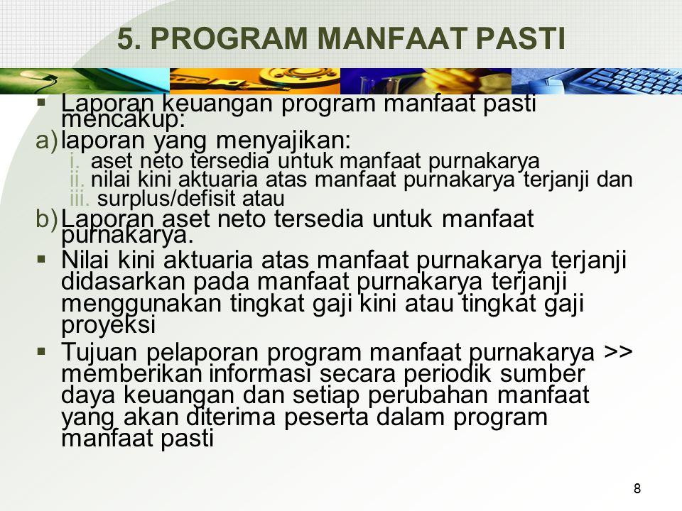 5. PROGRAM MANFAAT PASTI  Laporan keuangan program manfaat pasti mencakup: a)laporan yang menyajikan: i.aset neto tersedia untuk manfaat purnakarya i
