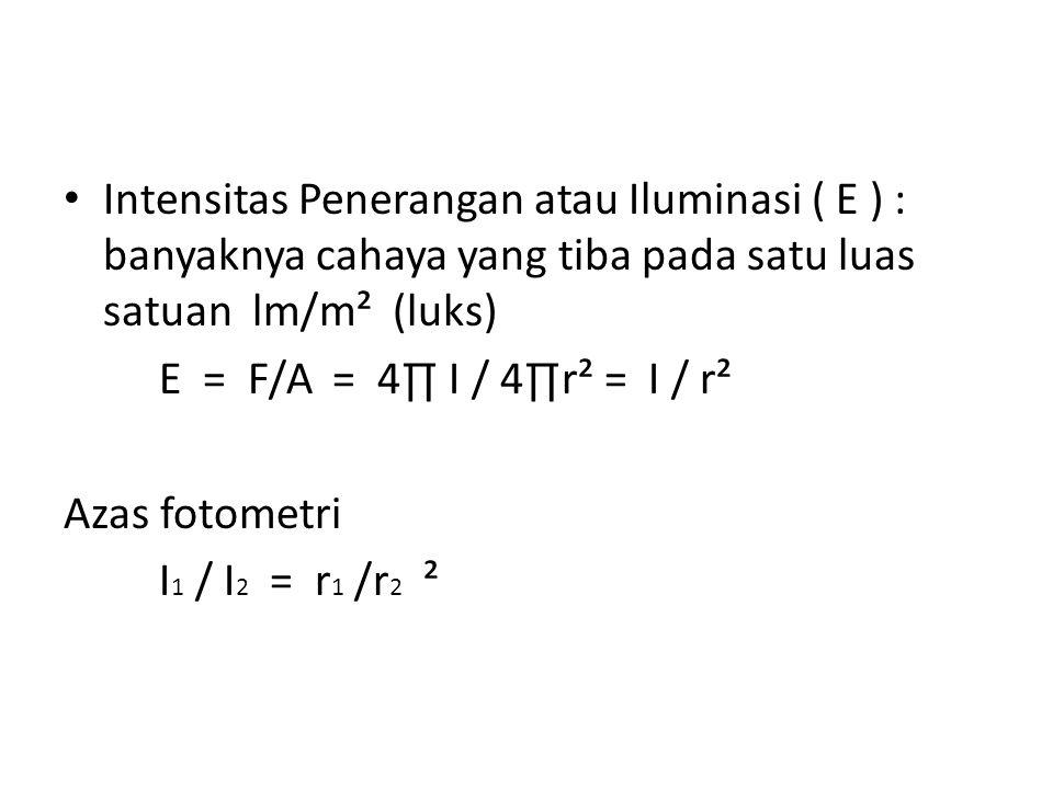 Intensitas Penerangan atau Iluminasi ( E ) : banyaknya cahaya yang tiba pada satu luas satuan lm/m² (luks) E = F/A = 4∏ I / 4∏r² = I / r² Azas fotomet