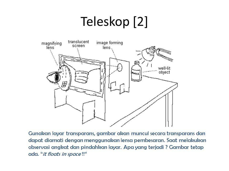 Teleskop [2] Gunakan layar transparans, gambar akan muncul secara transparans dan dapat diamati dengan menggunakan lensa pembesaran. Saat melakukan ob