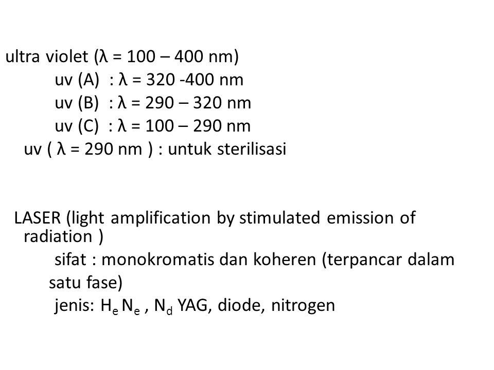 ultra violet (λ = 100 – 400 nm) uv (A) : λ = 320 -400 nm uv (B) : λ = 290 – 320 nm uv (C) : λ = 100 – 290 nm uv ( λ = 290 nm ) : untuk sterilisasi LAS