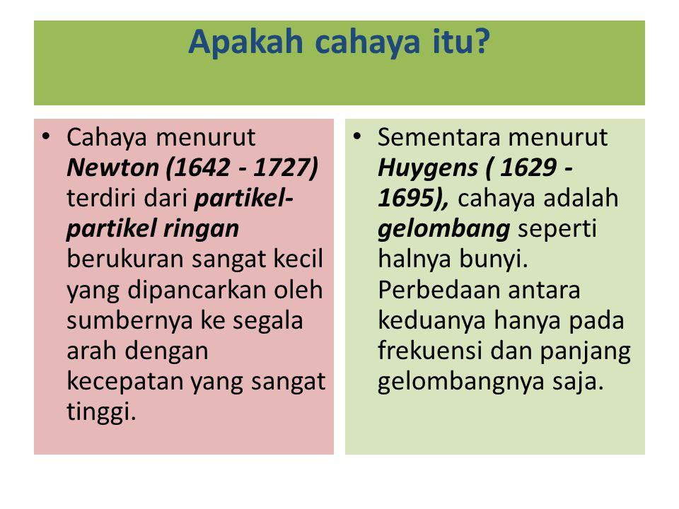 Apakah cahaya itu? Cahaya menurut Newton (1642 - 1727) terdiri dari partikel- partikel ringan berukuran sangat kecil yang dipancarkan oleh sumbernya k