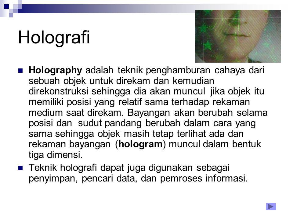 Holografi Holography adalah teknik penghamburan cahaya dari sebuah objek untuk direkam dan kemudian direkonstruksi sehingga dia akan muncul jika objek