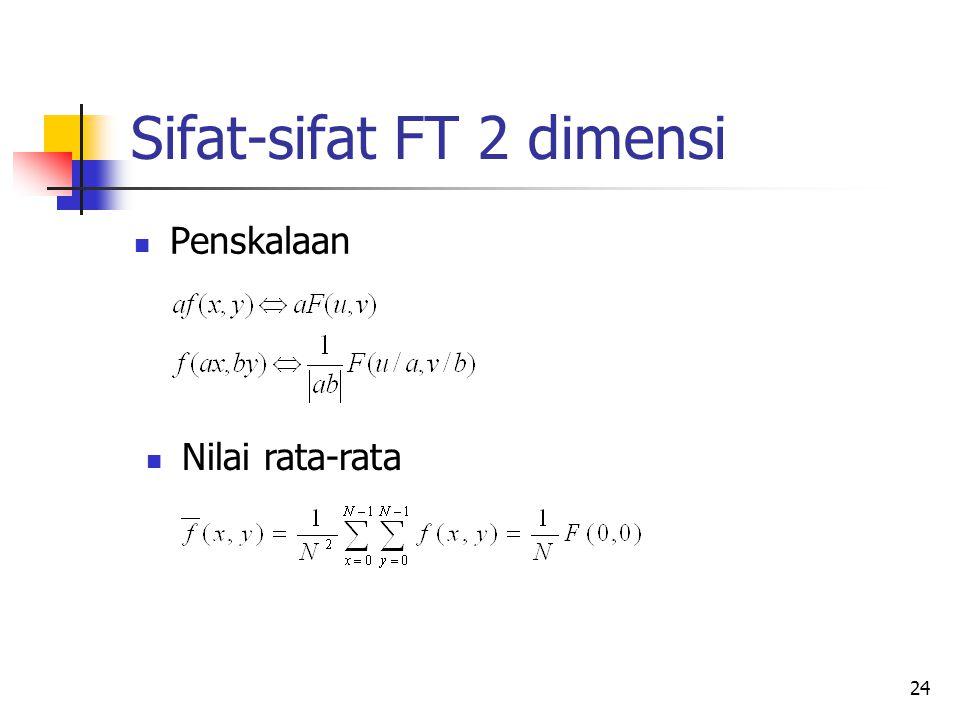 24 Sifat-sifat FT 2 dimensi Penskalaan Nilai rata-rata