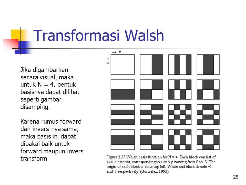28 Transformasi Walsh Jika digambarkan secara visual, maka untuk N = 4, bentuk basisnya dapat dilihat seperti gambar disamping. Karena rumus forward d