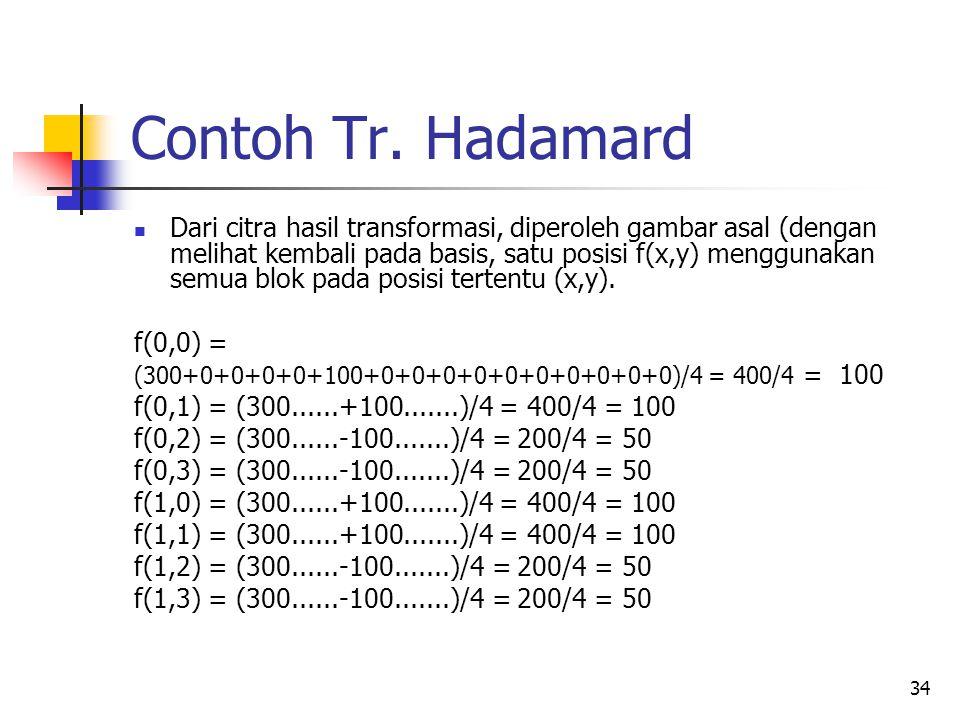34 Contoh Tr. Hadamard Dari citra hasil transformasi, diperoleh gambar asal (dengan melihat kembali pada basis, satu posisi f(x,y) menggunakan semua b