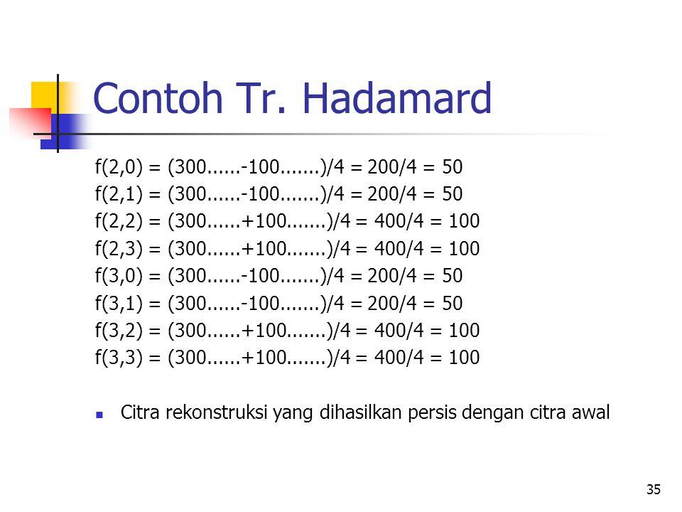 35 Contoh Tr. Hadamard f(2,0) = (300......-100.......)/4 = 200/4 = 50 f(2,1) = (300......-100.......)/4 = 200/4 = 50 f(2,2) = (300......+100.......)/4