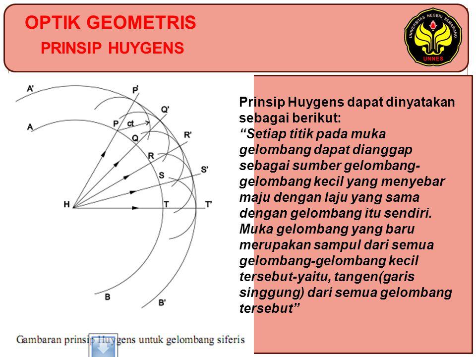 OPTIK GEOMETRIS PRINSIP HUYGENS Prinsip Huygens dapat dinyatakan sebagai berikut: Setiap titik pada muka gelombang dapat dianggap sebagai sumber gelombang- gelombang kecil yang menyebar maju dengan laju yang sama dengan gelombang itu sendiri.