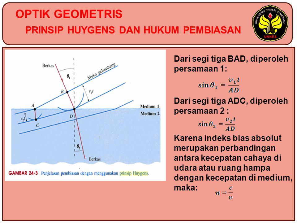 OPTIK GEOMETRIS PRINSIP HUYGENS DAN HUKUM PEMBIASAN Dari segi tiga BAD, diperoleh persamaan 1: Dari segi tiga ADC, diperoleh persamaan 2 : Karena inde