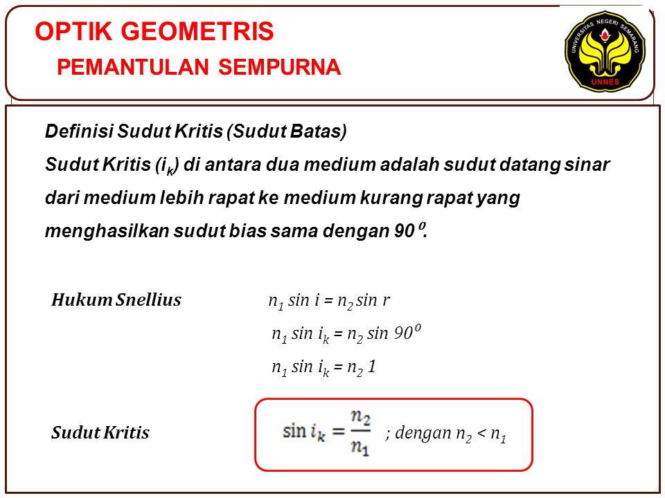 OPTIK GEOMETRIS PEMANTULAN SEMPURNA Definisi Sudut Kritis (Sudut Batas) Sudut Kritis (i k ) di antara dua medium adalah sudut datang sinar dari medium lebih rapat ke medium kurang rapat yang menghasilkan sudut bias sama dengan 90 ⁰.