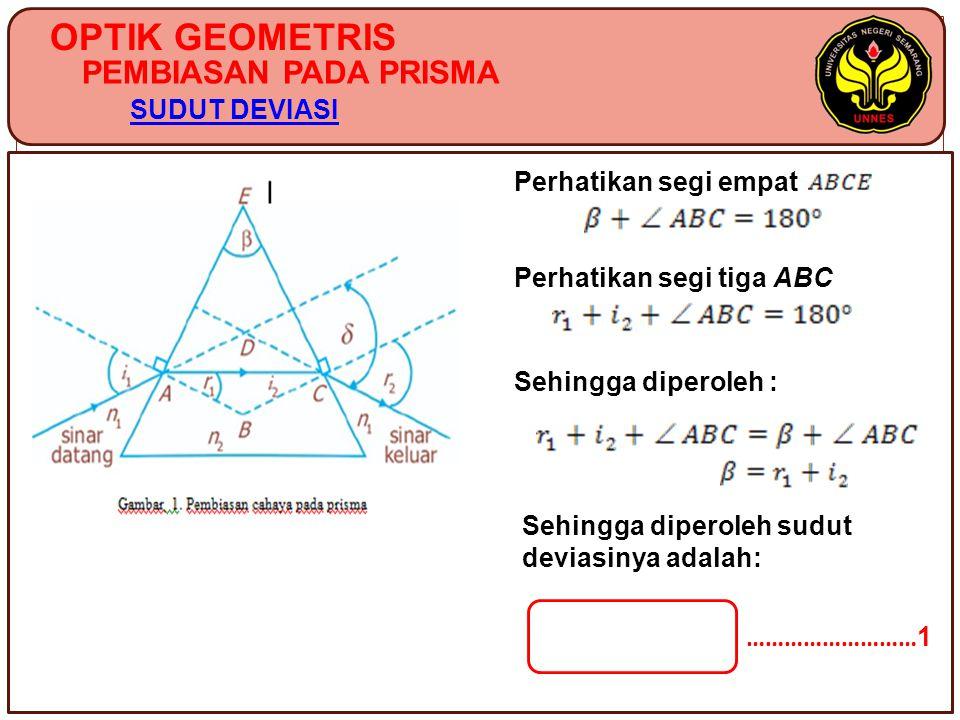 OPTIK GEOMETRIS PEMBIASAN PADA PRISMA SUDUT DEVIASI Perhatikan segi empat Perhatikan segi tiga ABC Sehingga diperoleh : ……………………… 1 Sehingga diperoleh sudut deviasinya adalah:
