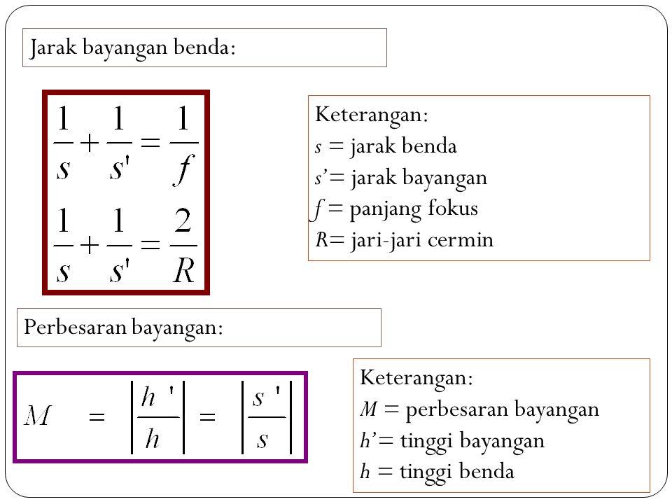 Jarak bayangan benda: Keterangan: s = jarak benda s'= jarak bayangan f = panjang fokus R= jari-jari cermin Perbesaran bayangan: Keterangan: M = perbesaran bayangan h'= tinggi bayangan h = tinggi benda