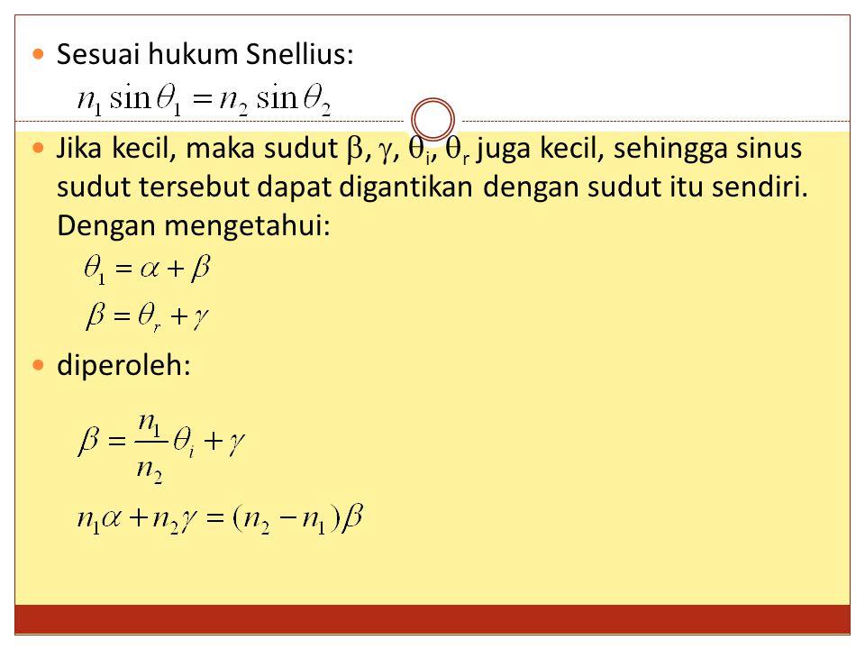 Sesuai hukum Snellius: Jika kecil, maka sudut , ,  i,  r juga kecil, sehingga sinus sudut tersebut dapat digantikan dengan sudut itu sendiri. Deng