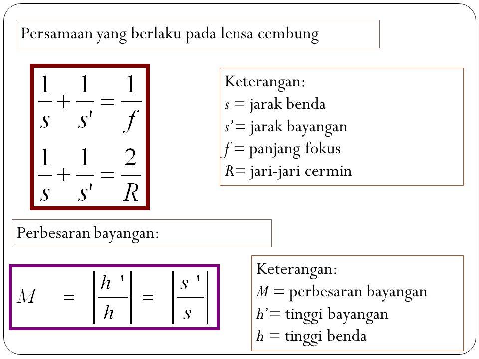 Persamaan yang berlaku pada lensa cembung Keterangan: s = jarak benda s'= jarak bayangan f = panjang fokus R= jari-jari cermin Perbesaran bayangan: Keterangan: M = perbesaran bayangan h'= tinggi bayangan h = tinggi benda