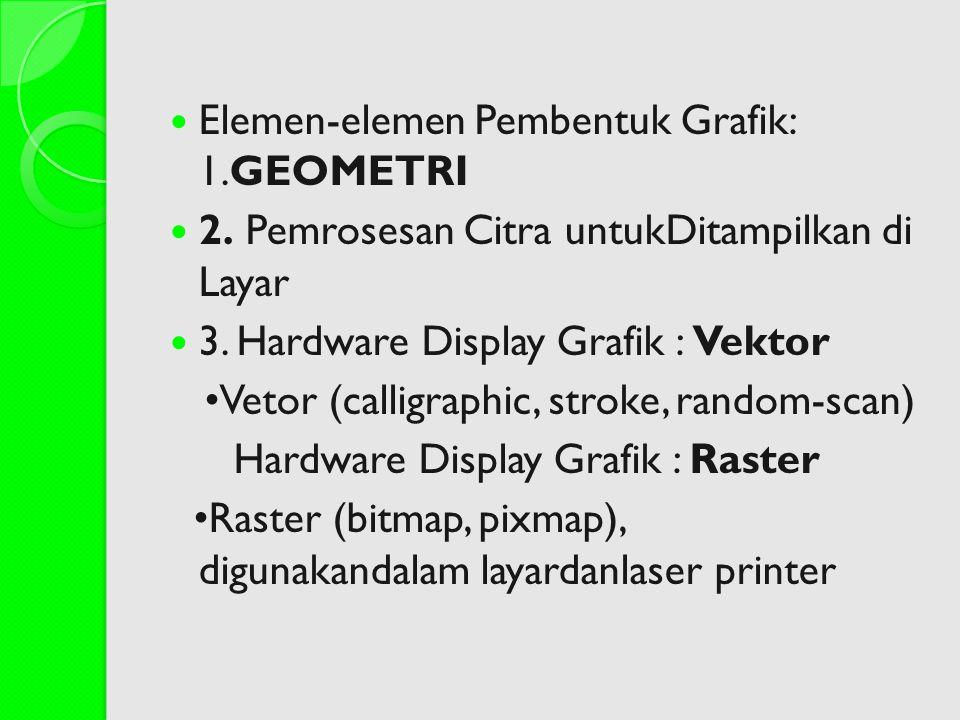 Elemen-elemen Pembentuk Grafik: 1.GEOMETRI 2. Pemrosesan Citra untukDitampilkan di Layar 3. Hardware Display Grafik : Vektor Vetor (calligraphic, stro