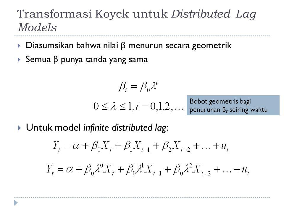 Transformasi Koyck untuk Distributed Lag Models  Diasumsikan bahwa nilai β menurun secara geometrik  Semua β punya tanda yang sama  Untuk model infinite distributed lag: Bobot geometris bagi penurunan β 0 seiring waktu