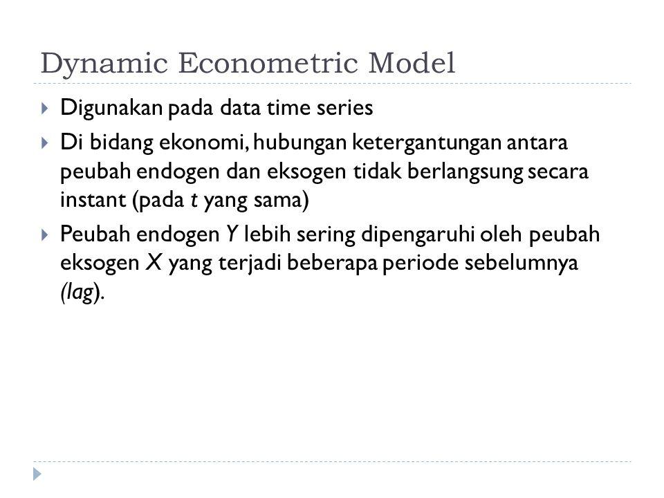 Dynamic Econometric Model  Digunakan pada data time series  Di bidang ekonomi, hubungan ketergantungan antara peubah endogen dan eksogen tidak berlangsung secara instant (pada t yang sama)  Peubah endogen Y lebih sering dipengaruhi oleh peubah eksogen X yang terjadi beberapa periode sebelumnya (lag).