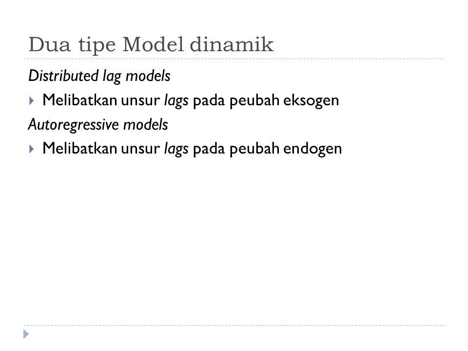 Dua tipe Model dinamik Distributed lag models  Melibatkan unsur lags pada peubah eksogen Autoregressive models  Melibatkan unsur lags pada peubah endogen
