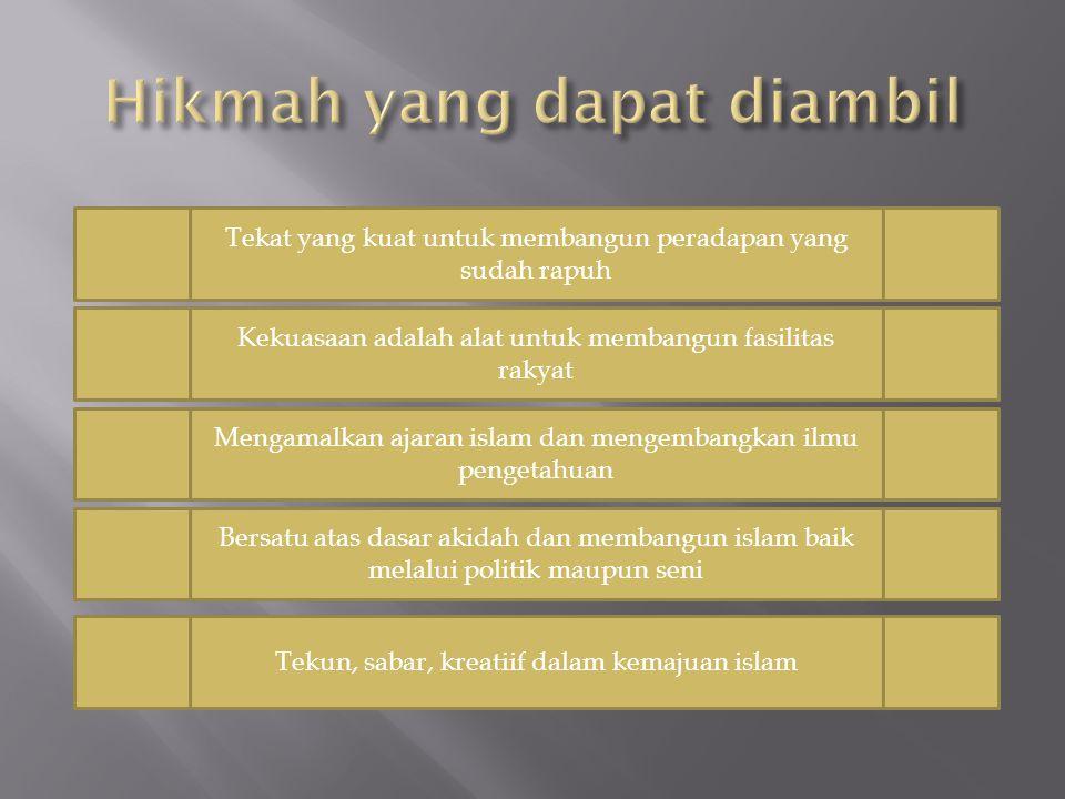 Tekat yang kuat untuk membangun peradapan yang sudah rapuh Kekuasaan adalah alat untuk membangun fasilitas rakyat Mengamalkan ajaran islam dan mengemb