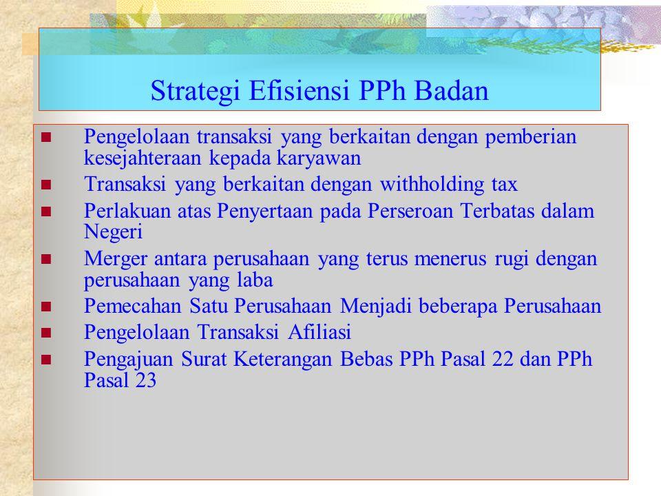 Strategi Efisiensi PPh Badan Pengelolaan transaksi yang berkaitan dengan pemberian kesejahteraan kepada karyawan Transaksi yang berkaitan dengan withh