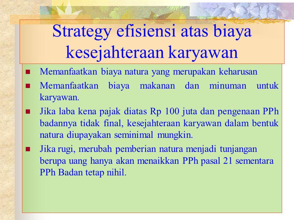 Strategy efisiensi atas biaya kesejahteraan karyawan Memanfaatkan biaya natura yang merupakan keharusan Memanfaatkan biaya makanan dan minuman untuk k