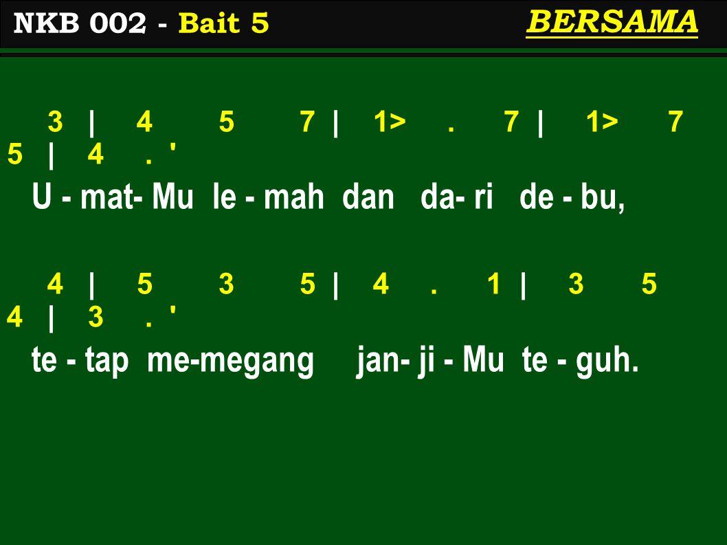 3 | 4 5 7 | 1>.7 | 1> 7 5 | 4. U - mat- Mu le - mah dan da- ri de - bu, 4 | 5 3 5 | 4.