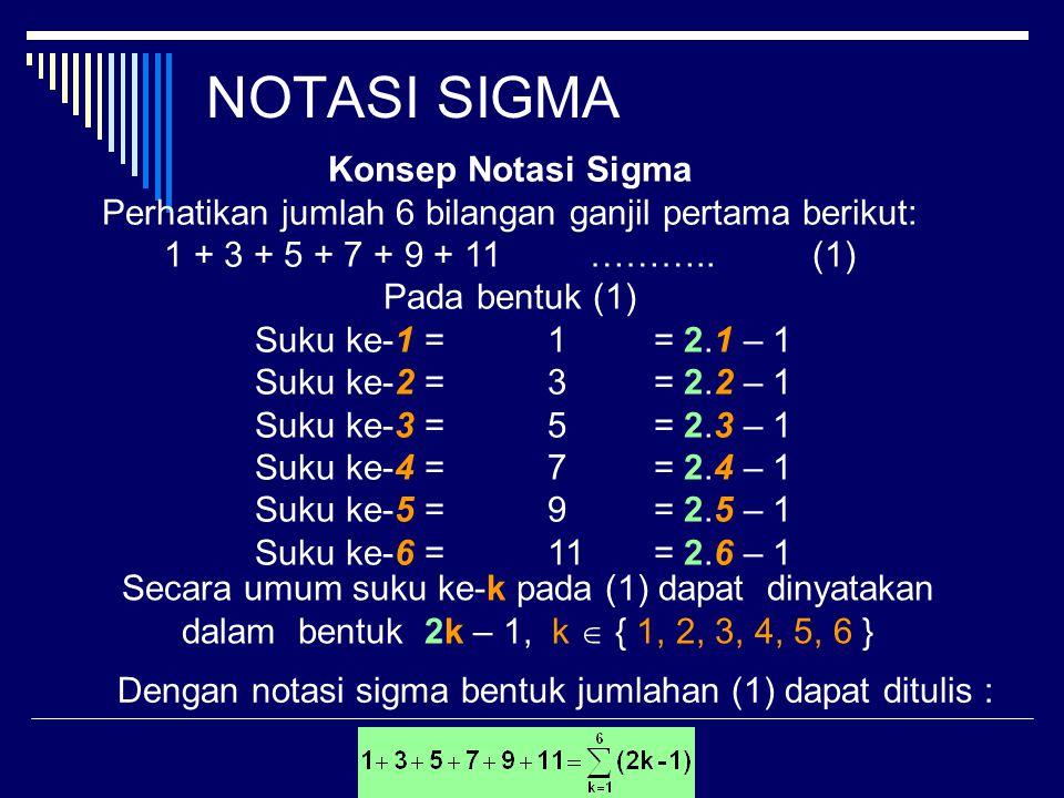 NOTASI SIGMA Konsep Notasi Sigma Perhatikan jumlah 6 bilangan ganjil pertama berikut: 1 + 3 + 5 + 7 + 9 + 11………..