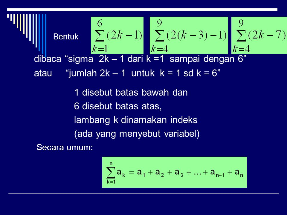 Deret Aritmetika Rumus untuk menentukan jumlah n suku pertama deret aritmetika dibuat berdasarkan metode yang dipakai oleh matematikawan Carl Friedrich Gauss (1777  1855) ketika ia masih kecil.