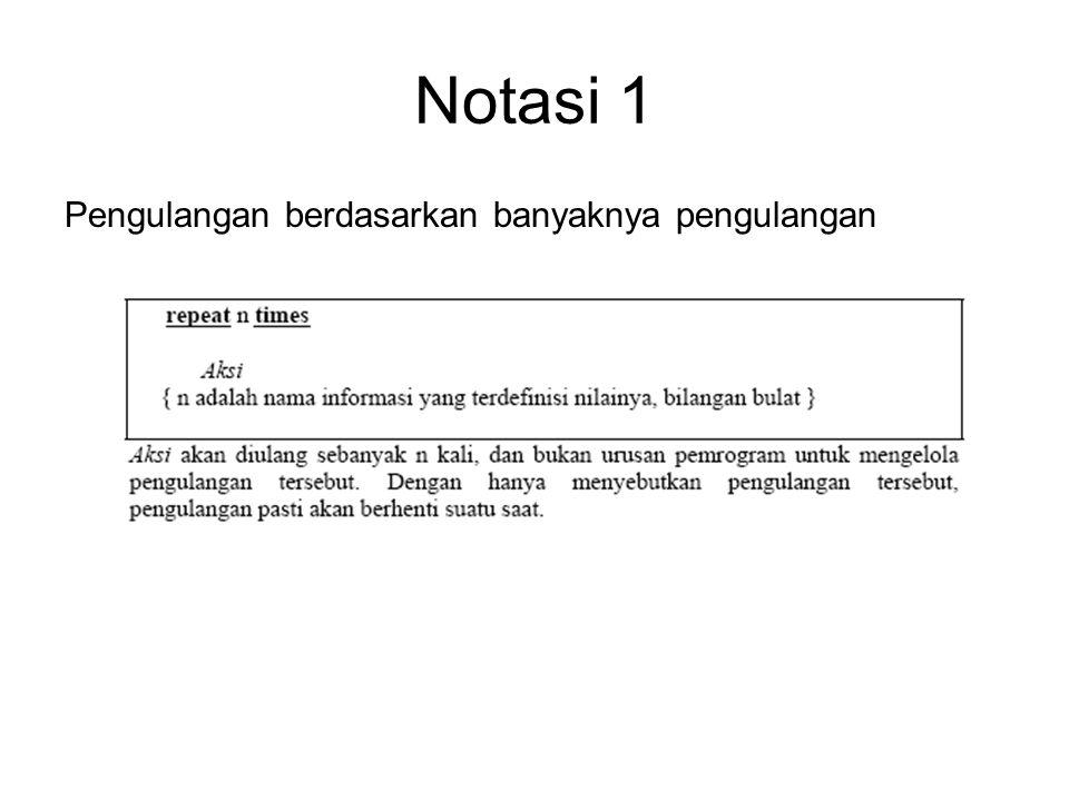 Notasi 1 Pengulangan berdasarkan banyaknya pengulangan