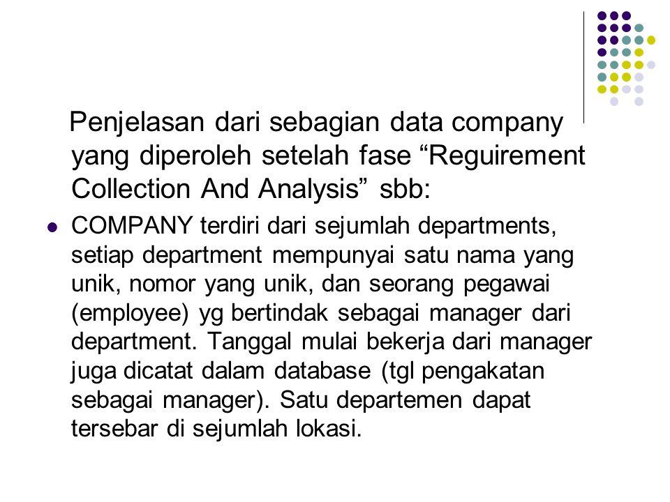 """Penjelasan dari sebagian data company yang diperoleh setelah fase """"Reguirement Collection And Analysis"""" sbb: COMPANY terdiri dari sejumlah departments"""