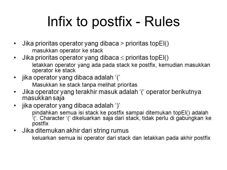 Infix to postfix - Rules Jika prioritas operator yang dibaca > prioritas topEl() masukkan operator ke stack Jika prioritas operator yang dibaca  prio