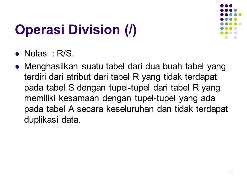 18 Operasi Division (/) Notasi : R/S. Menghasilkan suatu tabel dari dua buah tabel yang terdiri dari atribut dari tabel R yang tidak terdapat pada tab