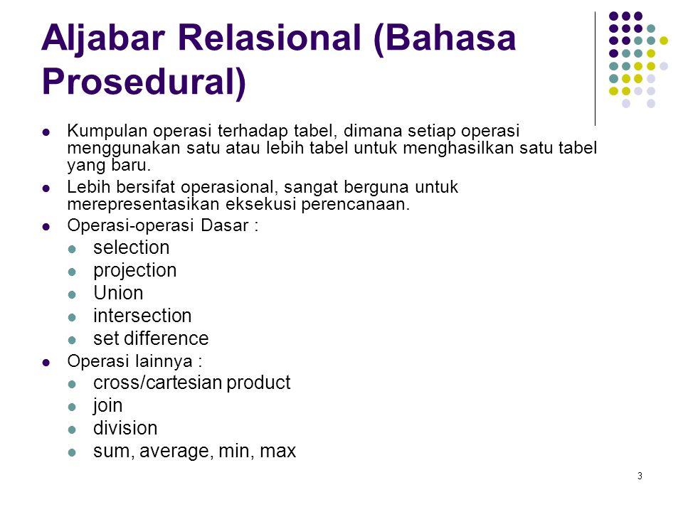 3 Aljabar Relasional (Bahasa Prosedural) Kumpulan operasi terhadap tabel, dimana setiap operasi menggunakan satu atau lebih tabel untuk menghasilkan s