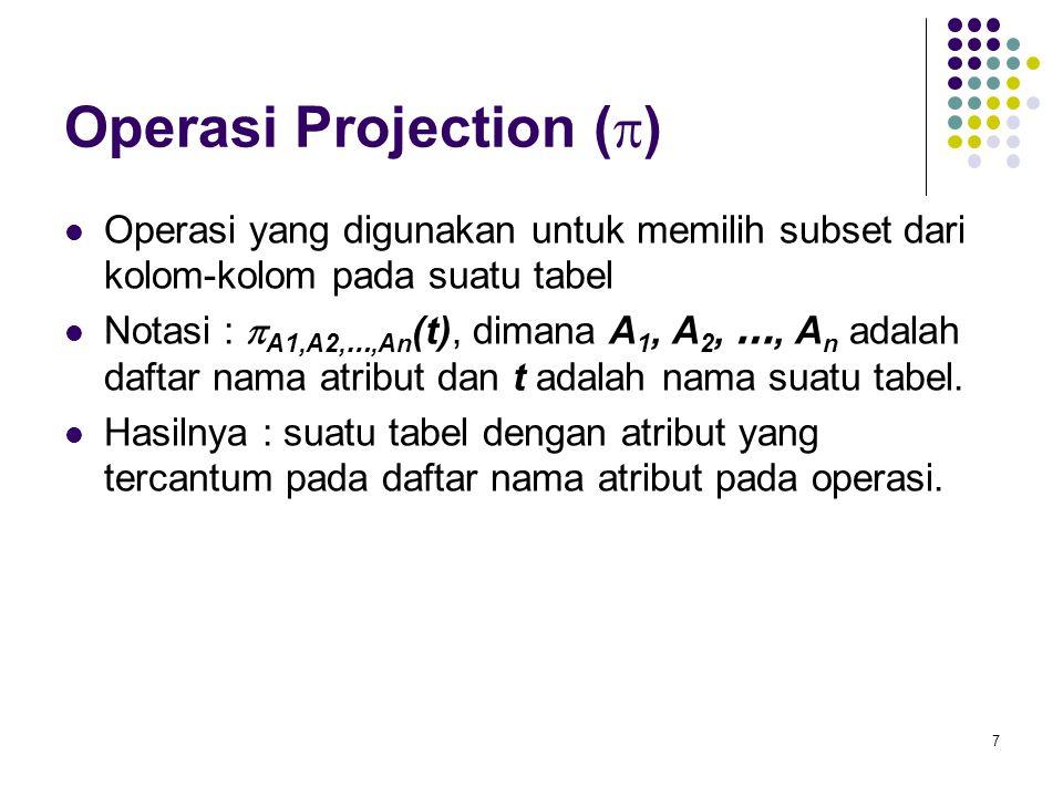 7 Operasi Projection (  ) Operasi yang digunakan untuk memilih subset dari kolom-kolom pada suatu tabel Notasi :  A1,A2, …,An (t), dimana A 1, A 2,
