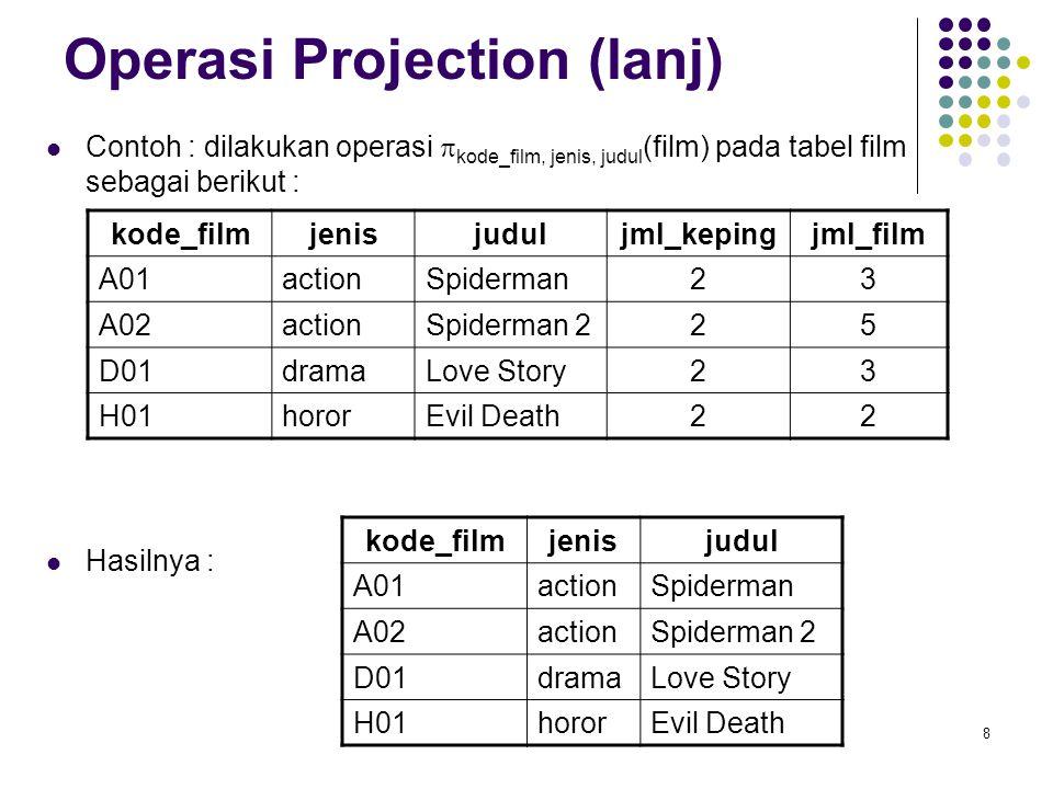 8 Operasi Projection (lanj) Contoh : dilakukan operasi  kode_film, jenis, judul (film) pada tabel film sebagai berikut : Hasilnya : kode_filmjenisjud