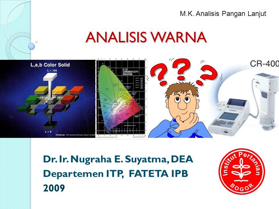 ANALISIS WARNA Dr. Ir. Nugraha E. Suyatma, DEA Departemen ITP, FATETA IPB 2009 M.K. Analisis Pangan Lanjut