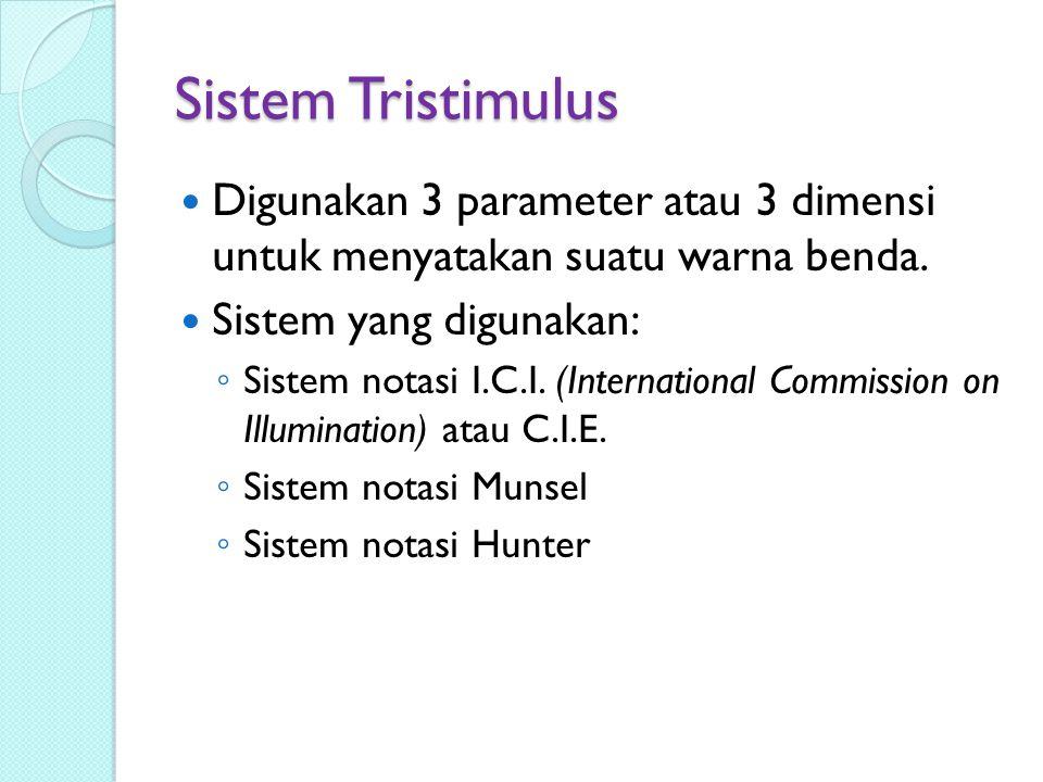 Sistem Tristimulus Digunakan 3 parameter atau 3 dimensi untuk menyatakan suatu warna benda.