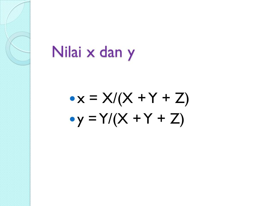 Nilai x dan y x = X/(X + Y + Z) y = Y/(X + Y + Z)