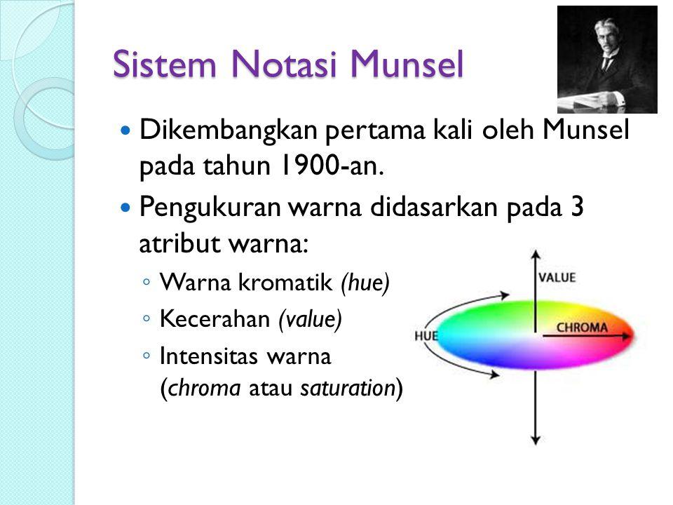 Sistem Notasi Munsel Dikembangkan pertama kali oleh Munsel pada tahun 1900-an. Pengukuran warna didasarkan pada 3 atribut warna: ◦ Warna kromatik (hue