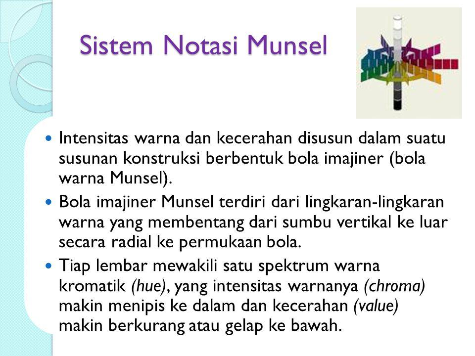 Sistem Notasi Munsel Intensitas warna dan kecerahan disusun dalam suatu susunan konstruksi berbentuk bola imajiner (bola warna Munsel). Bola imajiner