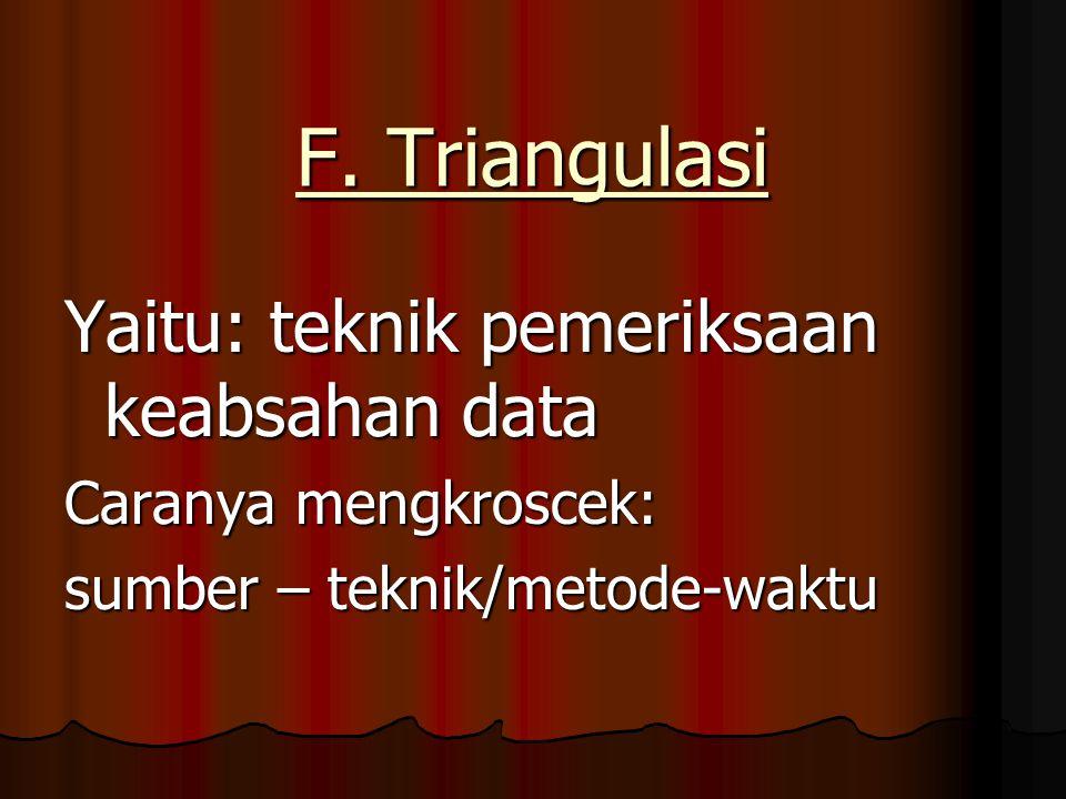 F. Triangulasi Yaitu: teknik pemeriksaan keabsahan data Caranya mengkroscek: sumber – teknik/metode-waktu