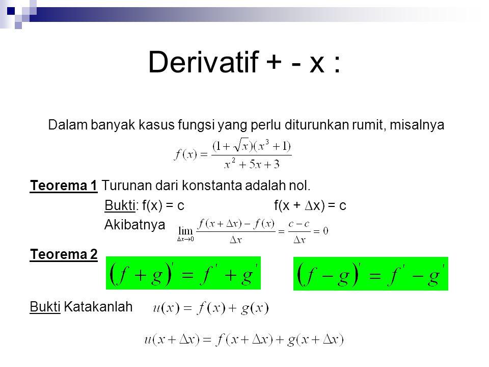 Derivatif + - x : Dalam banyak kasus fungsi yang perlu diturunkan rumit, misalnya Teorema 1 Turunan dari konstanta adalah nol. Bukti: f(x) = cf(x + ∆x