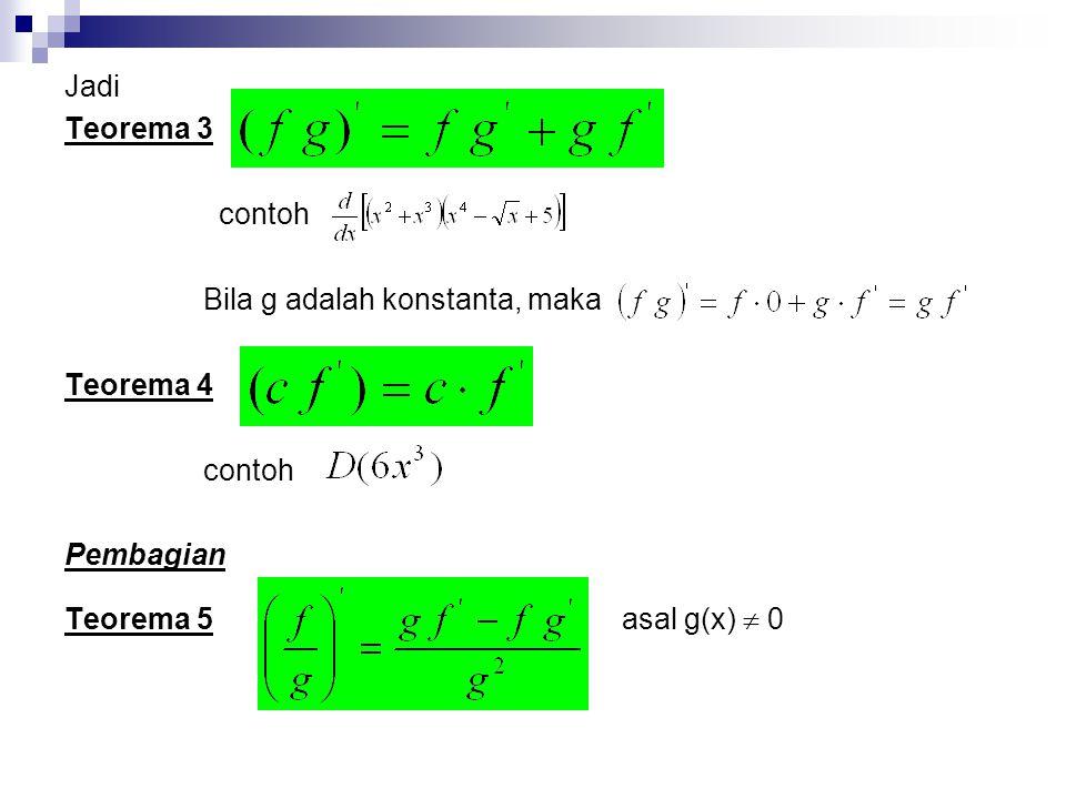 Jadi Teorema 3 contoh Bila g adalah konstanta, maka Teorema 4 contoh Pembagian Teorema 5 asal g(x)  0