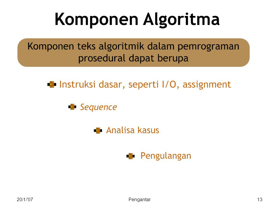 20/1/ 07Pengantar13 Komponen Algoritma