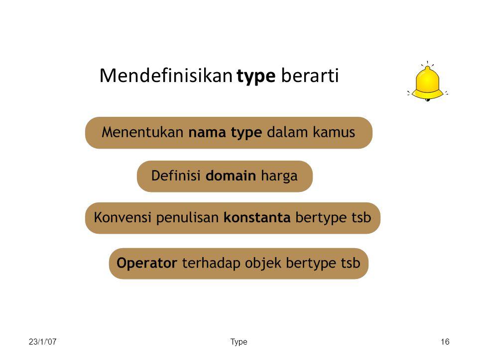23/1/ 07Type16 Mendefinisikan type berarti