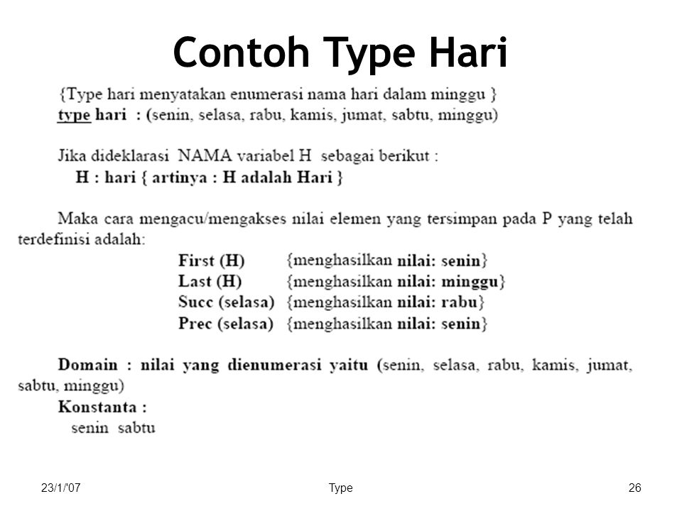 23/1/ 07Type26 Contoh Type Hari