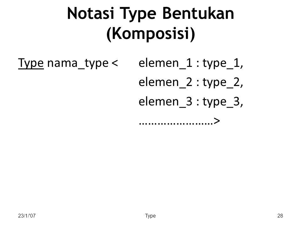 23/1/ 07Type28 Notasi Type Bentukan (Komposisi) Type nama_type < elemen_1 : type_1, elemen_2 : type_2, elemen_3 : type_3, ……………………>