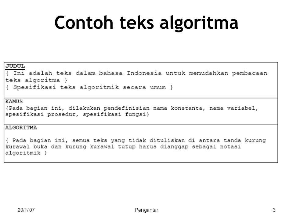 29/1/ 07Komponen Algoritma54 Contoh type ekspresi untuk type dasar Logik (boolean) Numerik Character dan string